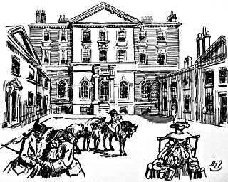 Albany House (south entrance) in Regency times: cartoon by Harry Furniss (1854-1925).