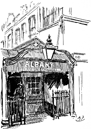 Albany House (north entrance) in Regency times: cartoon by Harry Furniss (1854-1925).